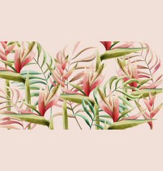 bird paradise flower and tropical leaves vector image