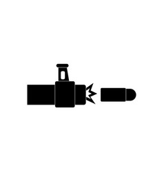 Black icon on white background rifle bullet shot vector
