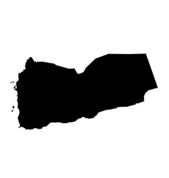 black silhouette country borders map of yemen on vector image