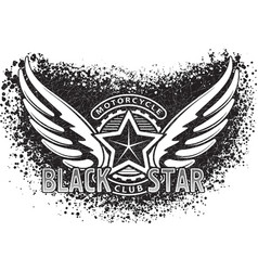 black star motorcycle club design for emblem or vector image