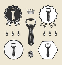 Bottle opener vintage retro icon web sign symbol vector