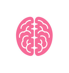 brain pink color top view icon intellect symbol vector image