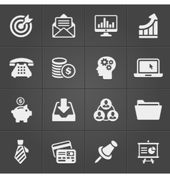 Business and finance icons on black set 2 vector