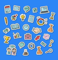 Business doodle icons stickers set vector