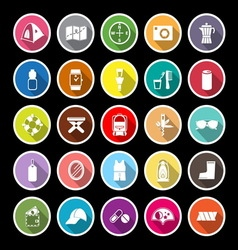 Camping necessary flat icons with long shadow vector image