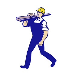 Carpenter tradesman carrying timber lumber vector