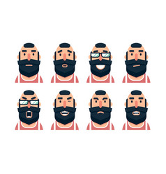 Cartoon bearded man character with various facial vector
