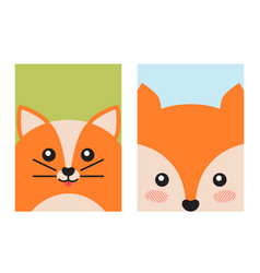 Cat and fox animal covers vector