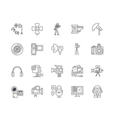 cctv videoequipment line icons signs vector image