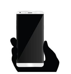 Cellphone in black hand vector