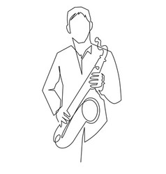 Continuous line drawing musician plays vector