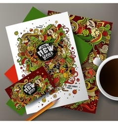 Corporate Identity templates set new year vector