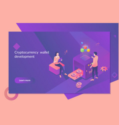 cryptocurrency and blockchain concept farm vector image