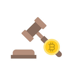 Cryptocurrency legal issues icon flat design vector