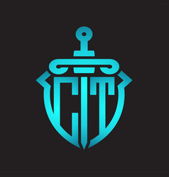ct logo monogram with sword and shield vector image