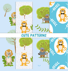 Cute animals patterns vector