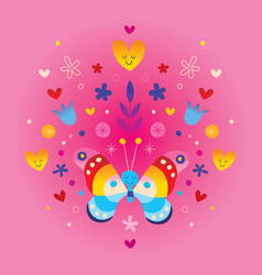 Cute butterfly hearts and flowers vector