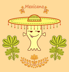 cute cartoon alien in mexican style with a big hat vector image