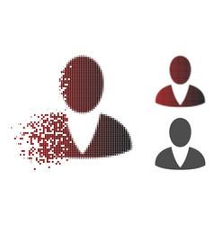 Disintegrating dot halftone user icon vector