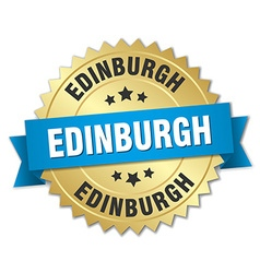 Edinburgh round golden badge with blue ribbon vector