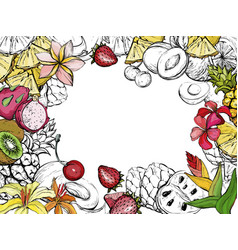 Exotic summer background with fruit and flowers vector