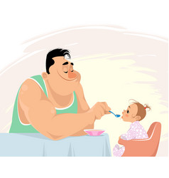 father feeding his daughter vector image