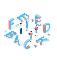 feedback isometric concept people exchange views vector image