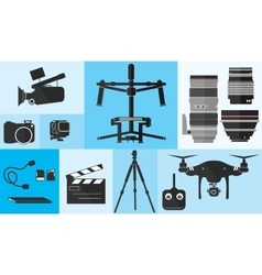 Footage Photography Equipment Shoot Set Pro Camera vector image