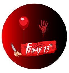 Friday 13th halloween text design vector