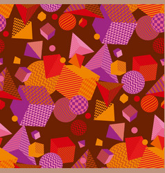 geometric 3d shapes color seamless pattern vector image