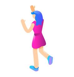 girl hand up icon isometric style vector image