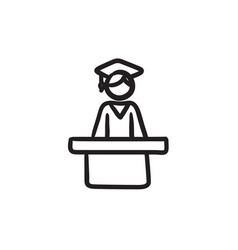 Graduate standing at the tribune sketch icon vector