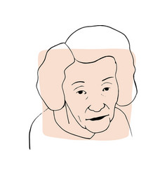 Hand-draw outline portrait old woman vector