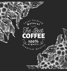 hand drawn coffee design template coffee plants vector image