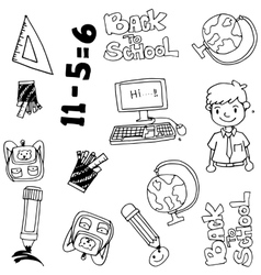 Hand drawn doodle with education items vector