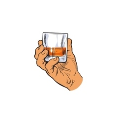 Hand holding full glass of whiskey vector