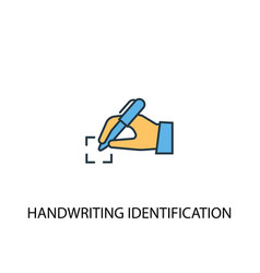 Handwriting identification concept 2 colored line vector