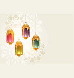 Hanging colorful eid festival lamps beautiful vector