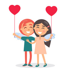 Happy couple sincerely smiling hold balloon vector