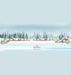 holiday christmas panorama with a winter village vector image