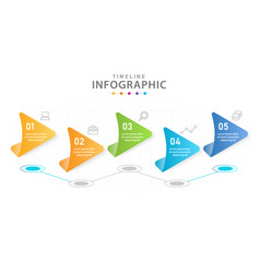 infographic 5 steps timeline with line graph vector image