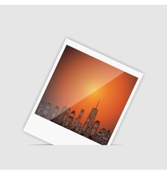 Instant photo with palm tree vector image