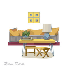 interior design modern yellow living room trendy vector image