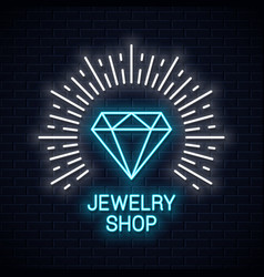 Jewelry shop neon sign diamond icon neon banner vector