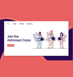 Join astronaut corps landing page template vector