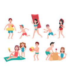 kids playing at beach summer holiday vacation vector image