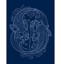 Koi carp tattoo design vector
