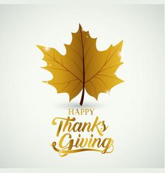 leaf of thanks given design vector image