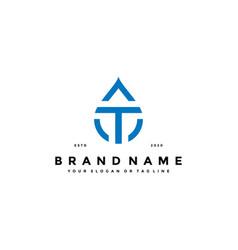 Letter t water drop logo design vector