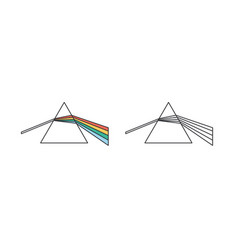 light dispersion and refraction effect linear vector image